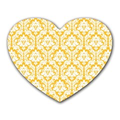 White On Sunny Yellow Damask Mouse Pad (Heart)