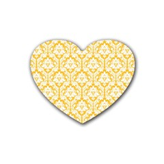 White On Sunny Yellow Damask Drink Coasters (Heart)