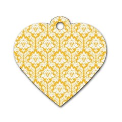 White On Sunny Yellow Damask Dog Tag Heart (Two Sided)