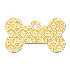 White On Sunny Yellow Damask Dog Tag Bone (Two Sided)