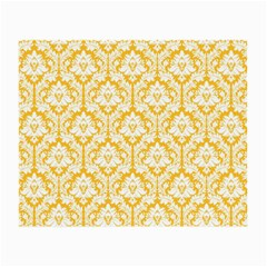 White On Sunny Yellow Damask Glasses Cloth (small, Two Sided)