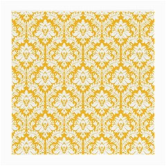 White On Sunny Yellow Damask Glasses Cloth (medium, Two Sided)
