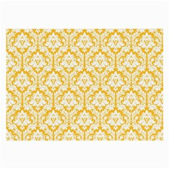 White On Sunny Yellow Damask Glasses Cloth (large, Two Sided)