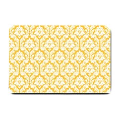 White On Sunny Yellow Damask Small Door Mat
