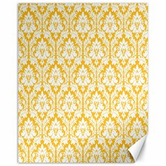 White On Sunny Yellow Damask Canvas 11  X 14  (unframed)