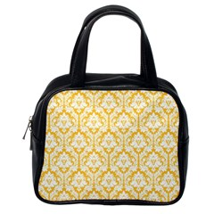 White On Sunny Yellow Damask Classic Handbag (One Side)