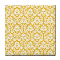 Sunny Yellow Damask Pattern Face Towel