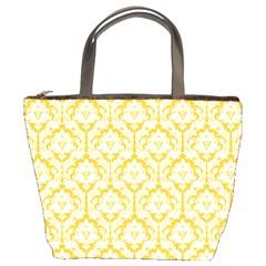 Sunny Yellow Damask Pattern Bucket Bag