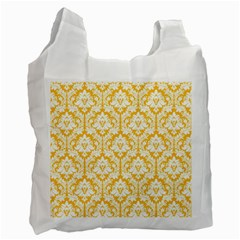 White On Sunny Yellow Damask White Reusable Bag (two Sides)