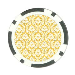 White On Sunny Yellow Damask Poker Chip (10 Pack)