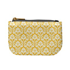 Sunny Yellow Damask Pattern Mini Coin Purse