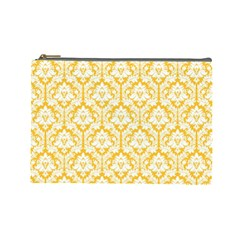 Sunny Yellow Damask Pattern Cosmetic Bag (Large)