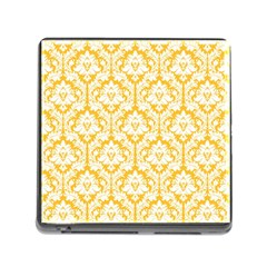 White On Sunny Yellow Damask Memory Card Reader With Storage (square)