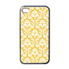 White On Sunny Yellow Damask Apple Iphone 4 Case (black)