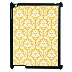 White On Sunny Yellow Damask Apple iPad 2 Case (Black)