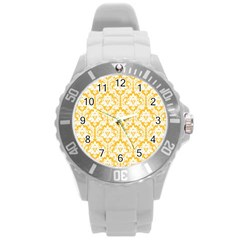 White On Sunny Yellow Damask Plastic Sport Watch (Large)