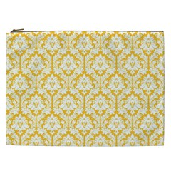 White On Sunny Yellow Damask Cosmetic Bag (XXL)