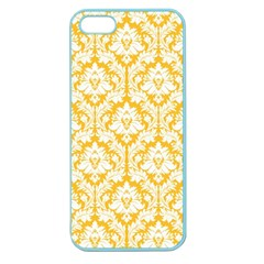 White On Sunny Yellow Damask Apple Seamless Iphone 5 Case (color)
