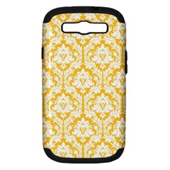 White On Sunny Yellow Damask Samsung Galaxy S Iii Hardshell Case (pc+silicone)
