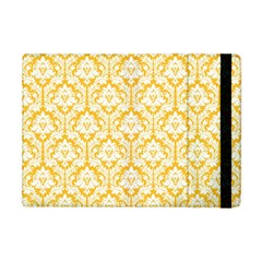 White On Sunny Yellow Damask Apple Ipad Mini Flip Case