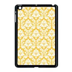 White On Sunny Yellow Damask Apple iPad Mini Case (Black)