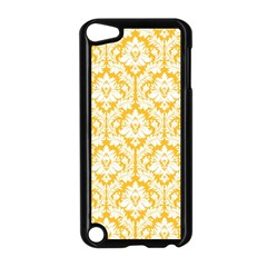White On Sunny Yellow Damask Apple iPod Touch 5 Case (Black)