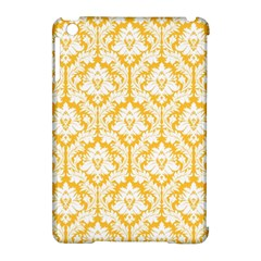 White On Sunny Yellow Damask Apple iPad Mini Hardshell Case (Compatible with Smart Cover)