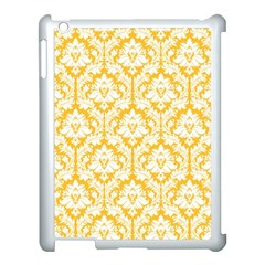 White On Sunny Yellow Damask Apple Ipad 3/4 Case (white)