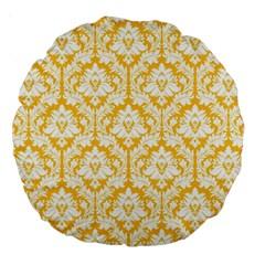 Sunny Yellow Damask Pattern Large 18  Premium Round Cushion