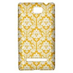 White On Sunny Yellow Damask HTC 8S Hardshell Case