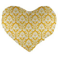 Sunny Yellow Damask Pattern Large 19  Premium Heart Shape Cushion