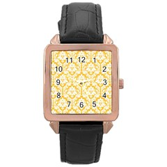 White On Sunny Yellow Damask Rose Gold Leather Watch