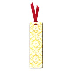 White On Sunny Yellow Damask Small Bookmark