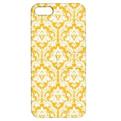 White On Sunny Yellow Damask Apple iPhone 5 Hardshell Case with Stand