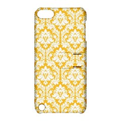 White On Sunny Yellow Damask Apple iPod Touch 5 Hardshell Case with Stand