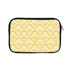 White On Sunny Yellow Damask Apple iPad Mini Zippered Sleeve