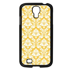 White On Sunny Yellow Damask Samsung Galaxy S4 I9500/ I9505 Case (black)