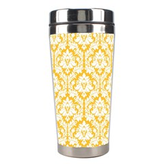 White On Sunny Yellow Damask Stainless Steel Travel Tumbler