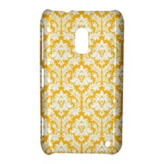 White On Sunny Yellow Damask Nokia Lumia 620 Hardshell Case