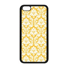White On Sunny Yellow Damask Apple iPhone 5C Seamless Case (Black)