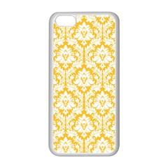 White On Sunny Yellow Damask Apple Iphone 5c Seamless Case (white)