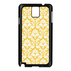 White On Sunny Yellow Damask Samsung Galaxy Note 3 N9005 Case (Black)