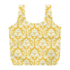 Sunny Yellow Damask Pattern Full Print Recycle Bag (L)