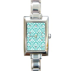 White On Turquoise Damask Rectangular Italian Charm Watch