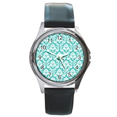 White On Turquoise Damask Round Leather Watch (Silver Rim)