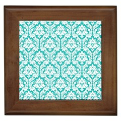 White On Turquoise Damask Framed Ceramic Tile