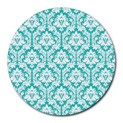 White On Turquoise Damask 8  Mouse Pad (round)