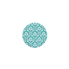 White On Turquoise Damask 1  Mini Button