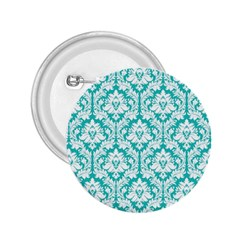 White On Turquoise Damask 2.25  Button