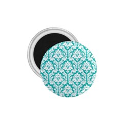 White On Turquoise Damask 1.75  Button Magnet